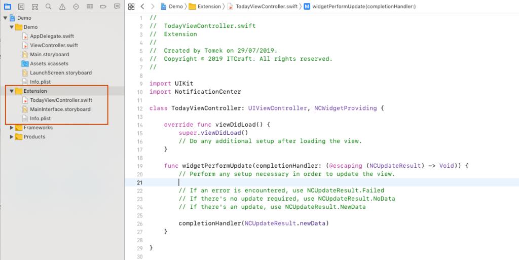 Tworzenie plików Application Extension w Xcode