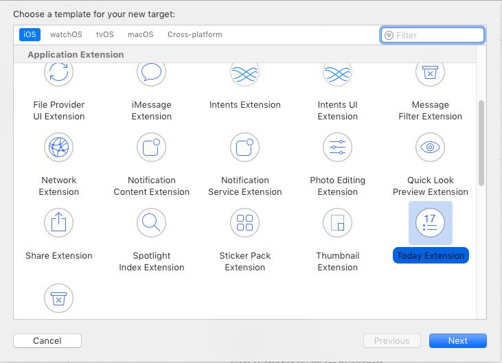 Widok Xcode Application Extension