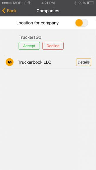 Truckersky application portfolio screenshot 3
