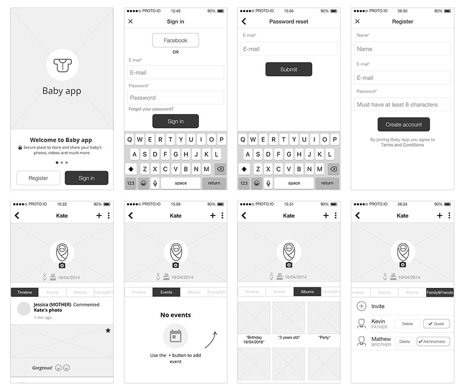 Example of High-fi wireframes for the Pixoo app