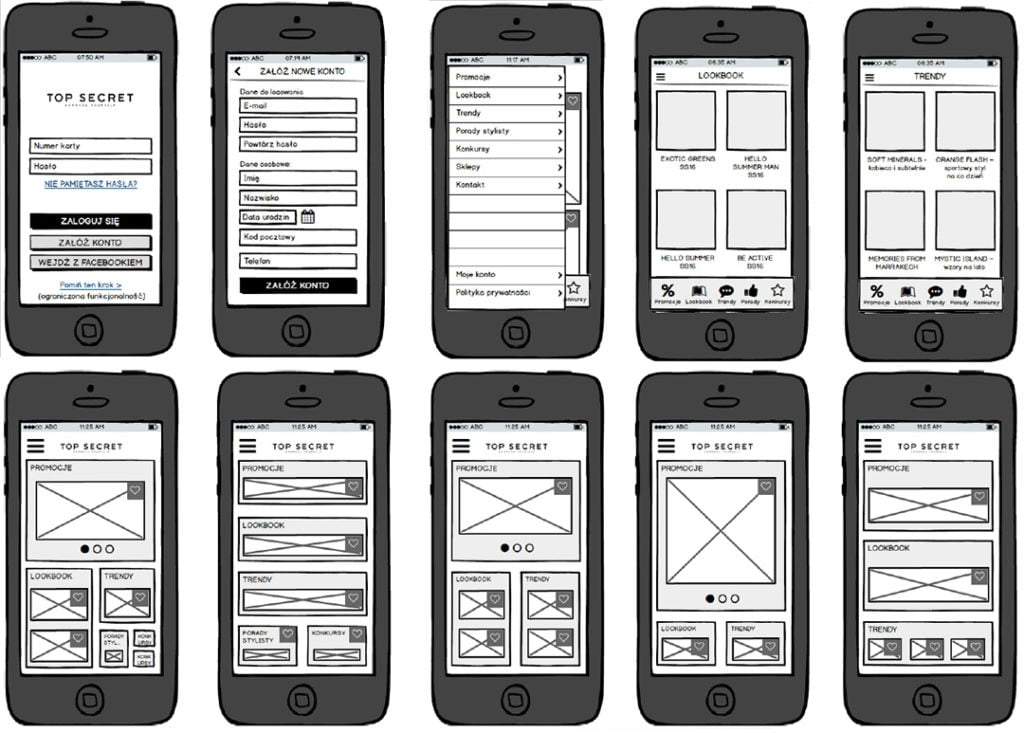 "Example of ""Low-fi wireframes"" for Top Secret app"