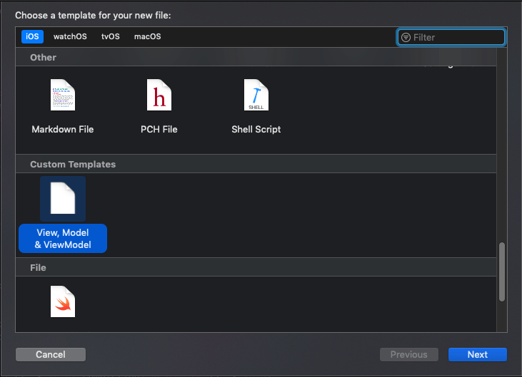 Using file templates in XCode