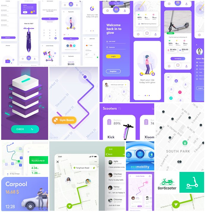 A moodboard for a scooter sharing app
