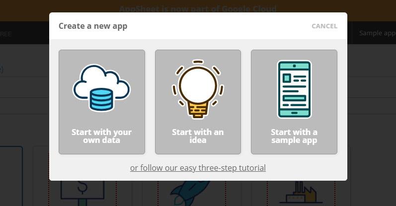 Start new app wih google appsheet